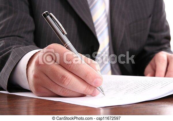 forma, ufficiale, penna scrittura, uomo affari, usando - csp11672597