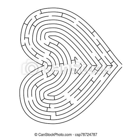formado, blanco, silueta, complicado, corazón, negro, laberinto - csp78724787
