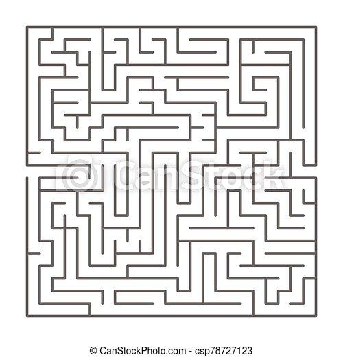 formado, blanco, silueta, complicado, negro, cuadrado, laberinto - csp78727123