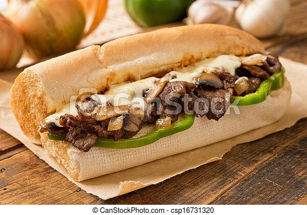 formaggio, bistecca, sub - csp16731320