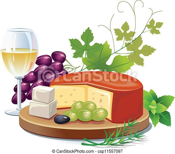 formaggio, vino bianco - csp11557097