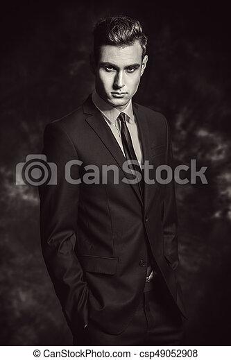formal blue suit - csp49052908