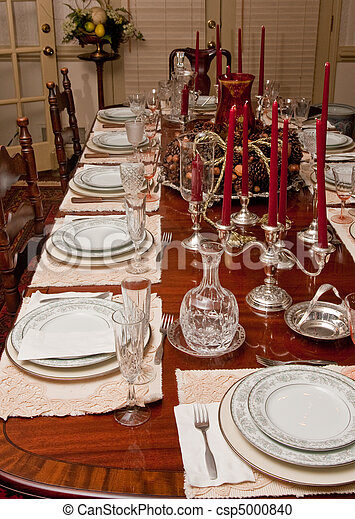 Perfect Formal Dining Table Set With China Stock Photo