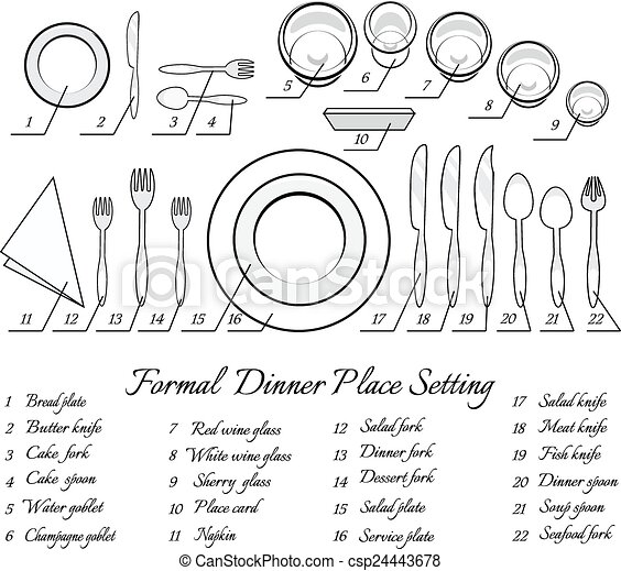 Formal table setting - csp24443678  sc 1 st  Can Stock Photo & Formal table setting. the plan for the cutlery on the table. vector ...