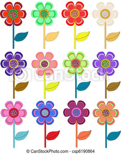 Formas Diferente Conjunto Flores Color