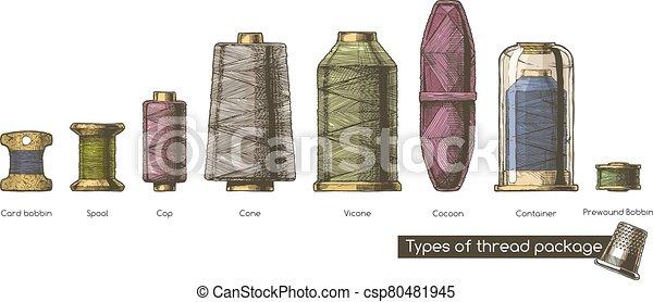 formas, vario, paquete, hilo - csp80481945