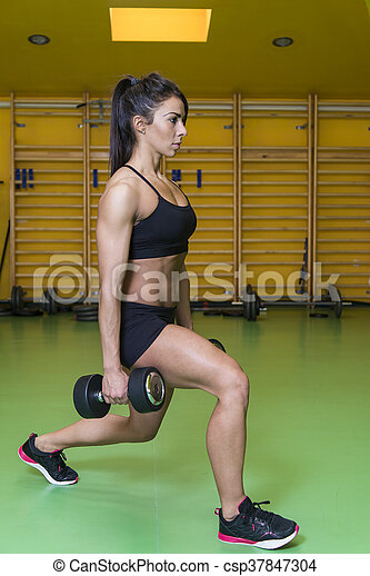 formation, femme, dumbbels, jeune, joli - csp37847304