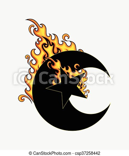 forme, étoile, brûlé, lune - csp37258442