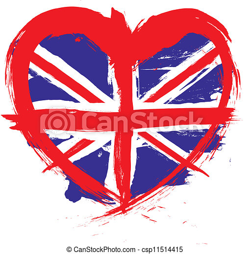 vector clip art of forme coeur, angleterre, drapeau csp11514415