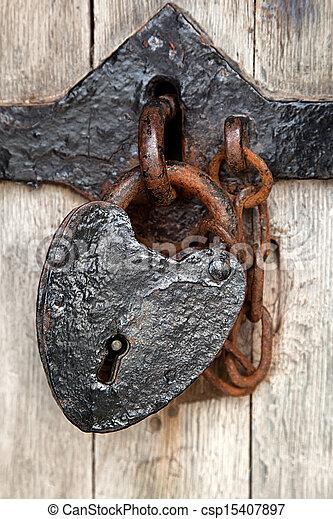forme coeur, cadenas - csp15407897