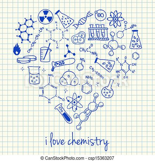 forme coeur, chimie, dessins - csp15363207