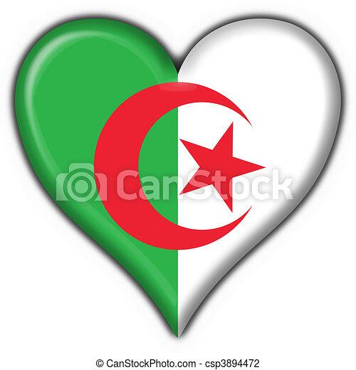 Algerie Drapeau forme coeur, drapeau, bouton, algérie. coeur, fait, algérie, bouton