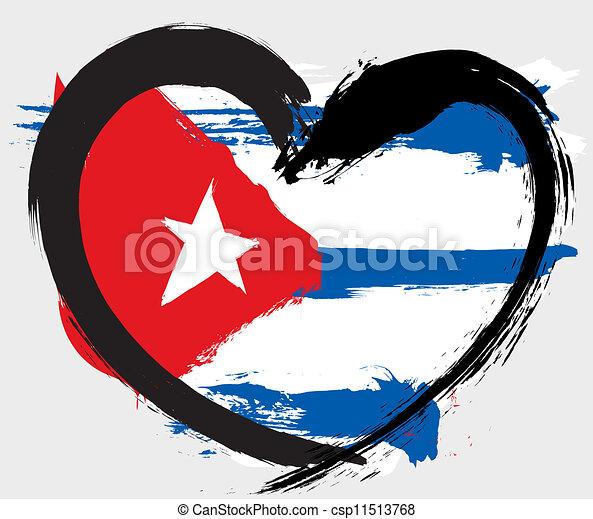 forme coeur, grunge, drapeau, cuba - csp11513768