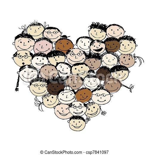 forme coeur, peuples, conception, ton, heureux - csp7841097