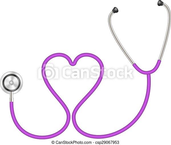 forme coeur, stéthoscope - csp29067953