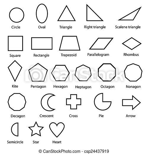 Geometrische Formen Vektor Bild Der Formen Diagramm Für Kinder Vektor Isolieren Auf Weiß Canstock