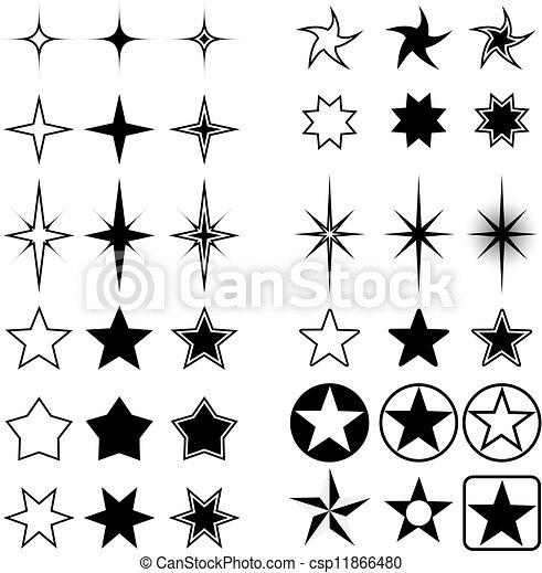 formen, stern, freigestellt, white. - csp11866480