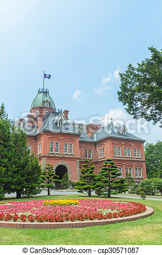 Former hokkaido government office and colorful flower garden in summer - csp30571087