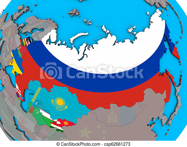Former Soviet Union with flags on 3D map