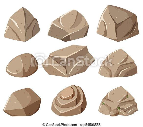 formes, gris, différent, rochers - csp54506558