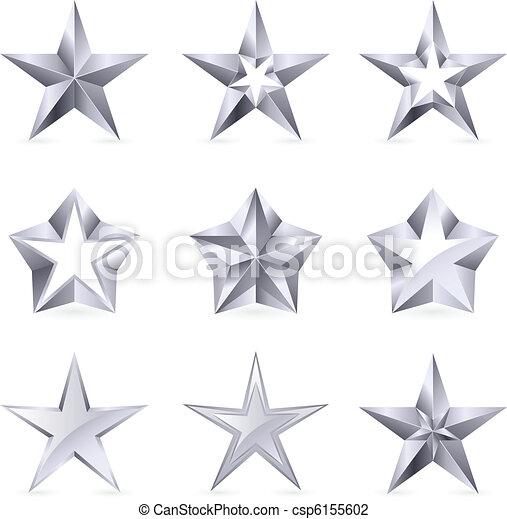 formes, types, différent, argent, étoiles - csp6155602