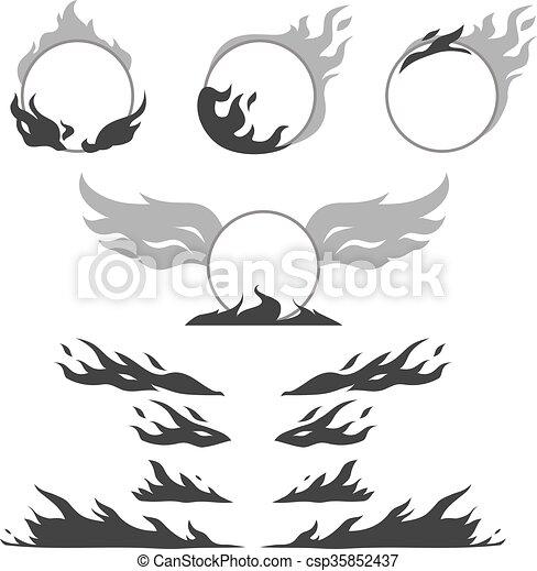 formuje, tworzyć, komplet, płomień, logotype - csp35852437