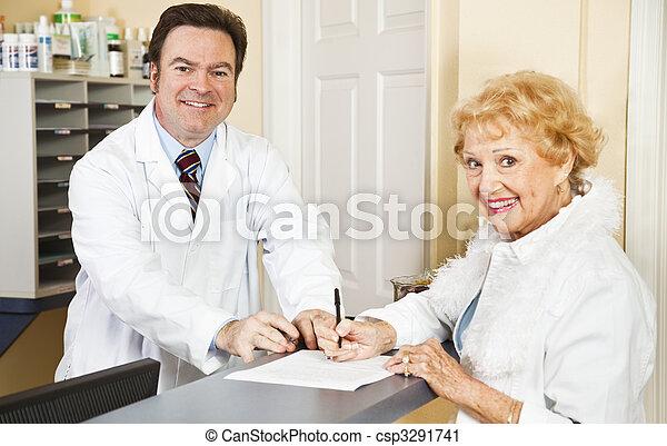 formulários, enchimento, médico, saída - csp3291741