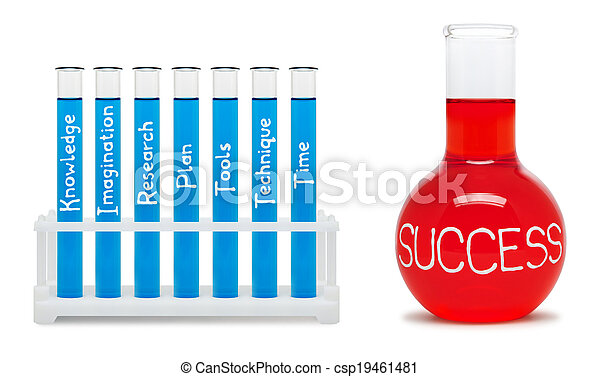 Formula of success. Concept with blue and red flasks. - csp19461481