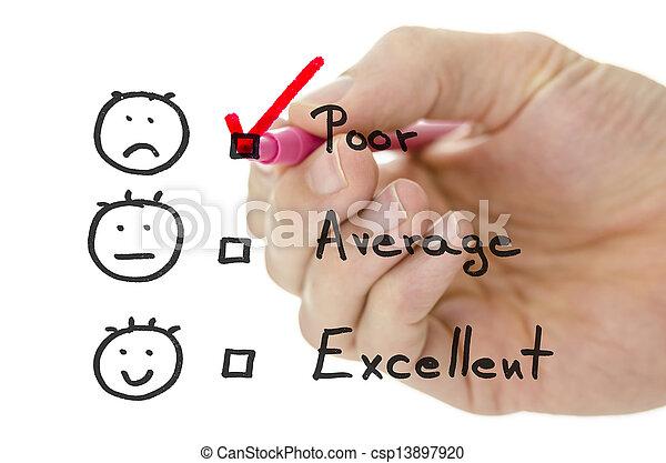formulaire, évaluation, service, pauvre, tique, client - csp13897920