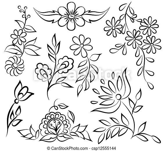 formulaire, résumé, angle., isolé, arrangement, arrière-plan noir, floral, blanc, frontière - csp12555144