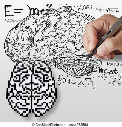 formule, cerveau, maths, signe - csp10635931