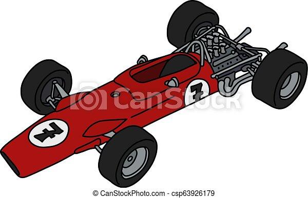 formule, vieux, voiture rouge, une - csp63926179