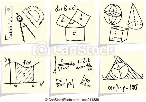 formules, bâtons, icônes, géométrie, note, jaune, mathématiques - csp9118861