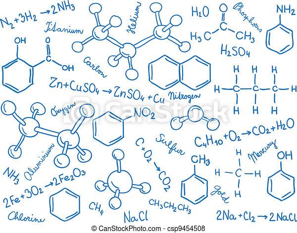 formules, modèles, molécule, -, fond, chimie - csp9454508