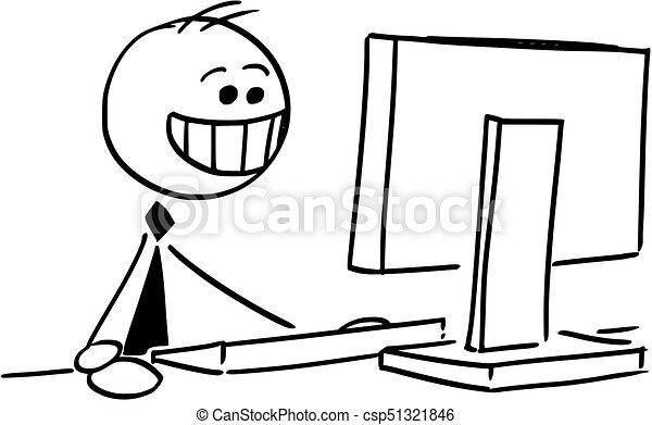 forretningsmand, smil, computer, arbejder, glade - csp51321846