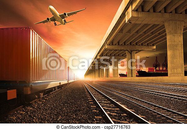 forsendelse, transport, last, , banen, flyve, anvendelse, skib, industri, beholder, havn, løb, logistic, land, tjeneste, expoert, hen, flyvemaskine, jernbaner, bro, firma, tog - csp27716763