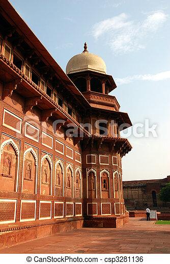 fort, inde, architecture, agra - csp3281136