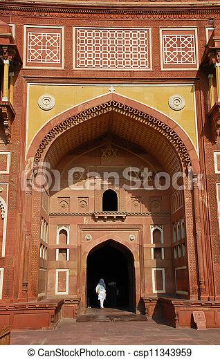 fort, inde, mahal, jahangiri, agra - csp11343959