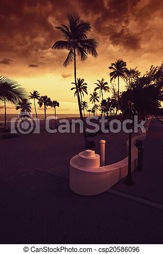 Fort Lauderdale Beach at Sunset - csp20586096