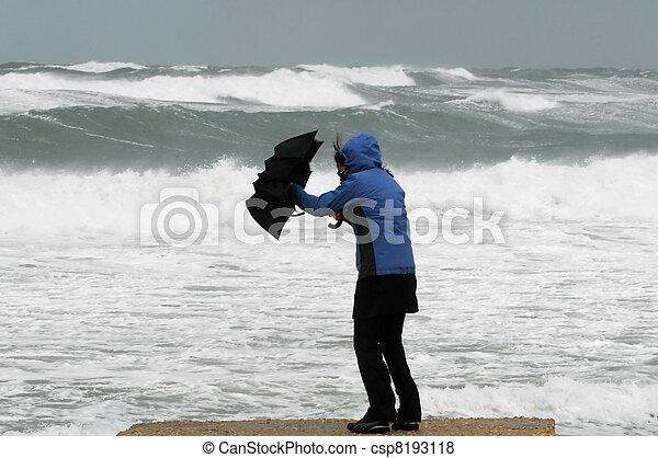 fort, plage, vent, pluie - csp8193118