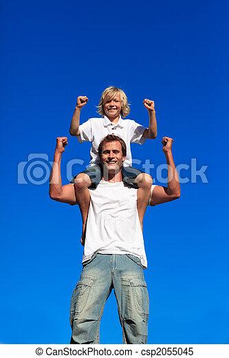 fort, séance, fils, père, sien, épaules - csp2055045