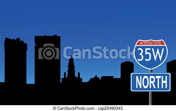 Fort Worth skyline interstate sign - csp22490343