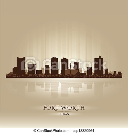 Fort Worth Texas city skyline silhouette - csp13320964