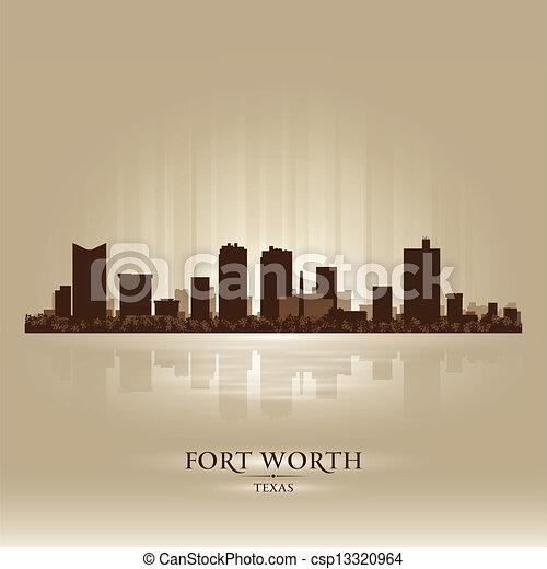 Fort Worth Texas city skyline silhouette - csp13320964