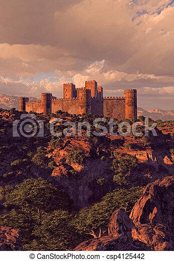 La fortaleza del castillo en las montañas - csp4125442