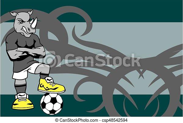 Forte sportivo rinoceronte giocatore fondo calcio cartone