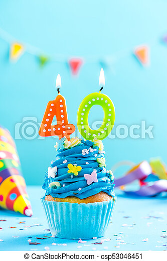 Fortieth 40th Birthday Cupcake With Candle Card Mockup