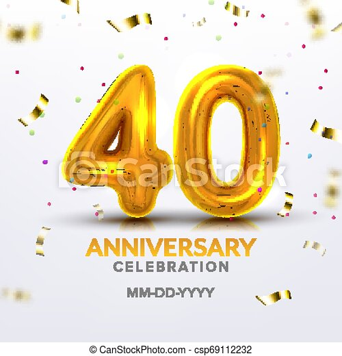 Fortieth Anniversary Celebration Number Vector - csp69112232