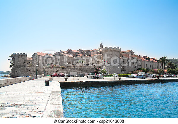 Fortified city of Korcula, Croatia  - csp21643608