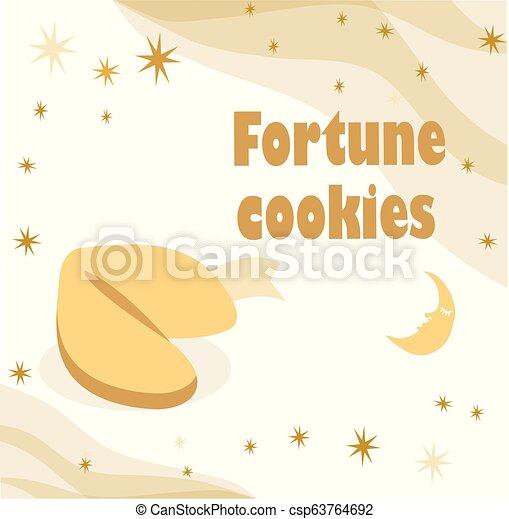 Ilustración con galleta de la fortuna con estrellas y luna en el fondo beige. - csp63764692